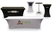 Custom printed economy spandex table covers Printed In Canada