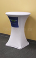 White 30 inch diameter round high boy economy spandex cocktail table cover with pantone multi colour custom printed logo