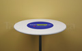 "White 30"" round economy spandex cocktail table topper cap with pantone pms multi colour custom printed logo"