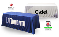 Custom printed 6 foot drape table cloth with logo for trade show table