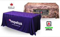 Custom printed 6 foot table cover with multi colour logos dye sublimation printed all over the entire tablecloth