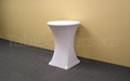"White plain unprinted 30"" round economy spandex cocktail table cover"
